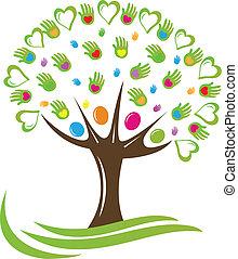Corazones de árbol y logotipo de manos