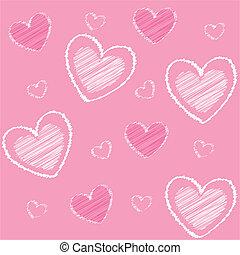 Corazones de San Valentín, espalda rosada
