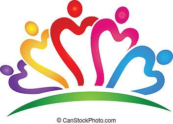 Corazones de trabajo en equipo vívidos colores logotipo