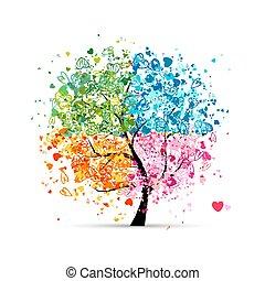 corazones, estaciones, -, verano, su, árbol, cuatro, otoño, arte, winter., primavera, hecho, diseño