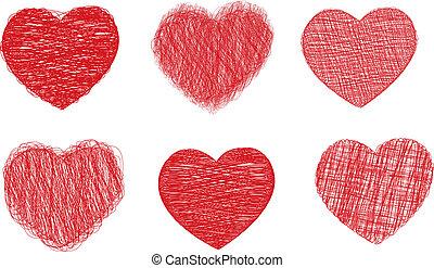 corazones, garabato
