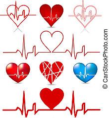 corazones, golpes, vector, conjunto, graph.
