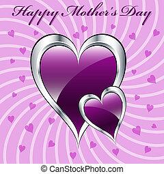 Corazones púrpura de la madre