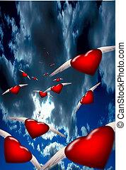 corazones, vuelo