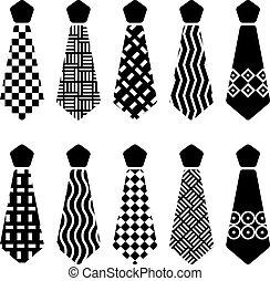 corbata, siluetas, vector, negro