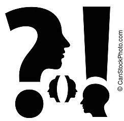 corchetes, pregunta, exclamación, excepcional, marca