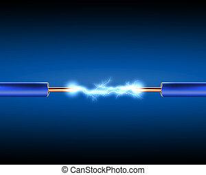 Cordón eléctrico con chispas eléctricas