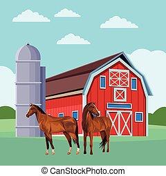 Cordero y caballos