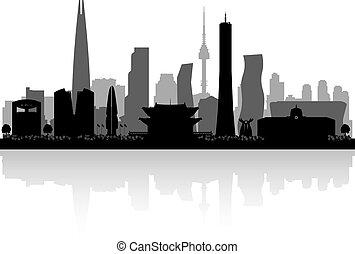 corea, silueta, sur, perfil de ciudad, seúl
