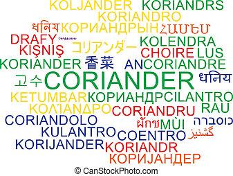 Coriander multilugar concepto de fondo de palabra