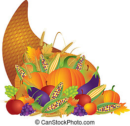 cornucopia, acción de gracias, ilustración, otoño, cosecha, día