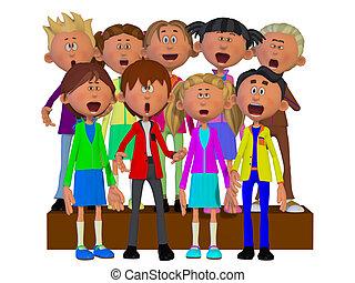 coro, niños, canto