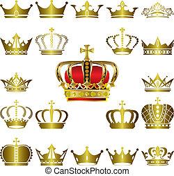 corona, conjunto, tiara, iconos