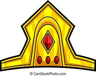 corona, dorado, caricatura, diamantes, rojo
