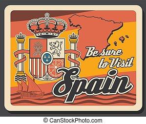 corona, mapa, retro, viaje, españa, cartel