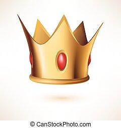 Corona real dorada aislada en blanco.