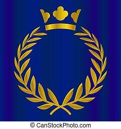 Corona real en color dorado. Victoria, honor, ilustración de vectores de calidad.