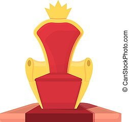 corona real, rey, vector., trono, icono, silla, caricatura