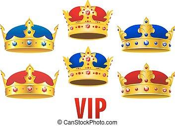 Coronas doradas con joyas y terciopelo