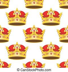 Coronas doradas sin costuras con patrones de gemas