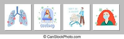 coronavirus, 19, pathogen, dibujo, china, símbolos, influenza, cuarentena, virus, células, conjunto de mano, objeto, gente, covid, respiratorio