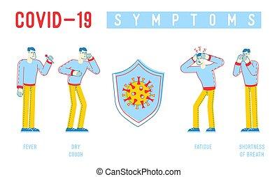 coronavirus, aliento, caracteres, síntomas, vector, bandera, tos, mers-cov, shortness, fiebre, infographics., ilustración, lineal, informativo, médico, gente, fatiga, cartel, flyer., chill., seco