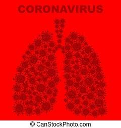 coronavirus, bacteria, fondo rojo, pulmones
