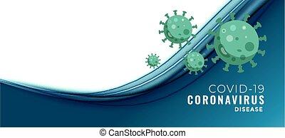 coronavirus, bandera, texto, concepto, espacio, covid-19