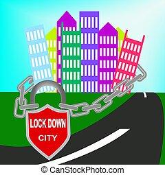 coronavirus, epidemi, símbolo, señal, lockdown, ciudad, ilustración