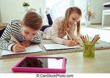 coronavirus, estudiar, hogar, adolescente, hermanos, cuarentena, durante