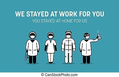 coronavirus, frontliners, pelea, médico, personales, outbreak., trabajadores, contra, hogar, impulsión, doctor, enfermedad, público, estancia, enfermera, virus, covid-19