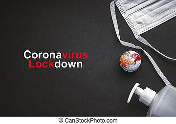 coronavirus, globo del mundo, sanitizer, texto, antibacterial, protector, fondo negro, lockdown, cara, jabón, máscara