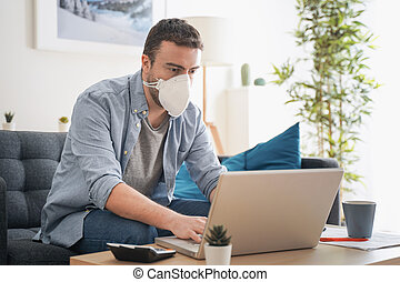 coronavirus, hogar, teleworking, hombre, después, pandemia