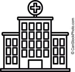 coronavirus, icono, estilo, hospital, contorno