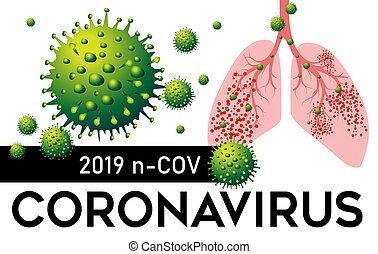 coronavirus, illustration., vector, pneumonia, 2019, pulmones, n, cov, china