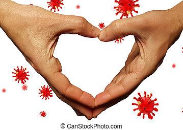 coronavirus, -, interpretación, donar, ayuda, plano de fondo, apoyo, financiero, pandemia, covid-19, 3d