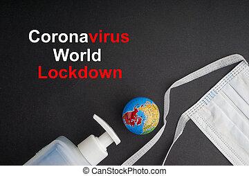 coronavirus, mundo, texto, antibacterial, protector, fondo negro, lockdown, sanitizer, cara, jabón, máscara