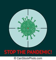 coronavirus., novela, parada, pandemic., gunpoint., 2019-ncov, illustration., vector, coronavirus