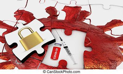 coronavirus, -, solución, interpretación, vacunación, rompecabezas, lockdown, covid-19, 3d