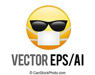 coronavirus, vector, gafas de sol, amarillo, negro, cara, icono, smiley, máscara