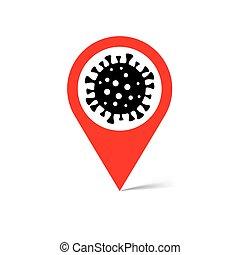 coronavirus, vector, señal, ubicación