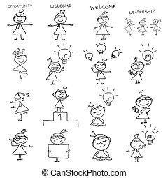 corporación mercantil de mujer, dibujo, concepto, mano, caricatura, feliz