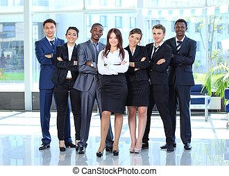 corporación mercantil de mujer, ella, joven, plano de fondo, equipo, feliz