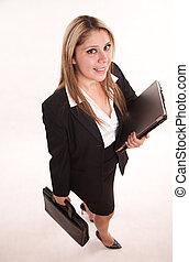 corporación mercantil de mujer, hispano, años 20, atractivo, bastante, profesional