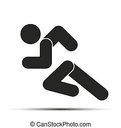corra, gente, simple, símbolo, aislado, fondo., corriente, blanco