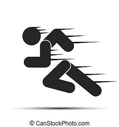 corra, gente, simple, símbolo, motion., aislado, fondo., corriente, blanco