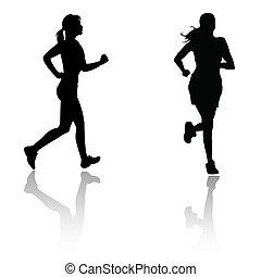 corra, mujer, silueta