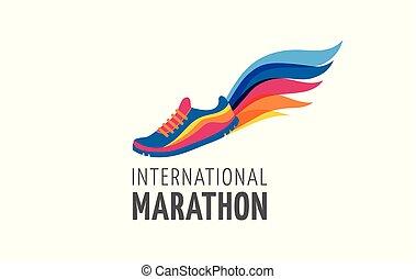 Corre icono, símbolo, afiche de maratón y logo