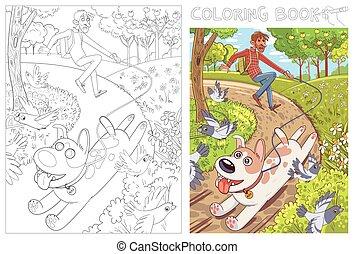 correa, libro, su, colorido, owner., tira, perro