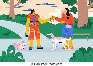 correa, paseante, profesional, toma, mascota, perro